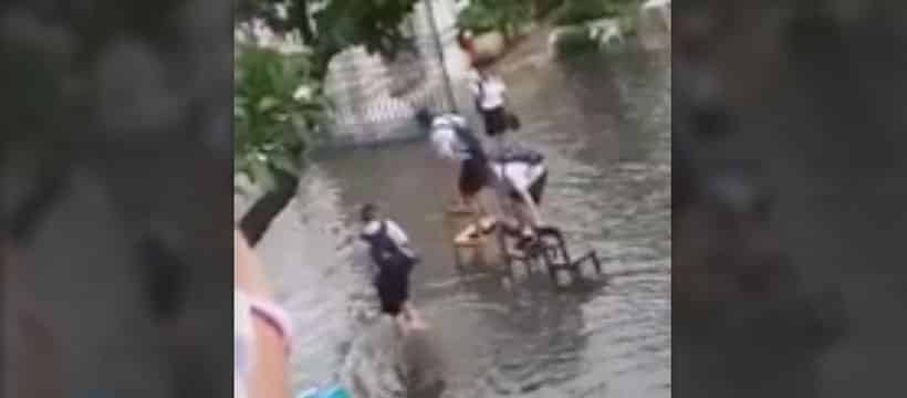 Thai Students In Bangkok Dealing With Flood Waters