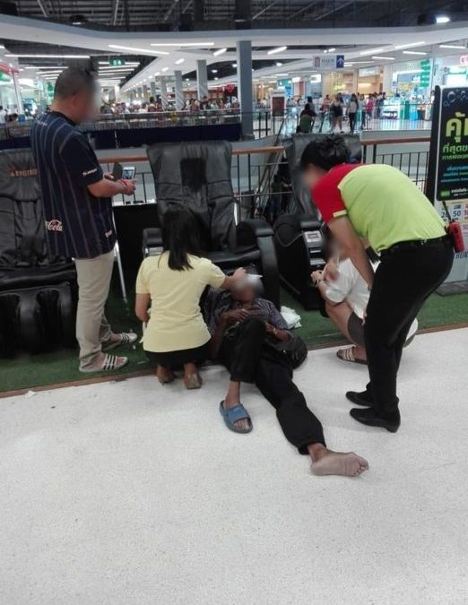 Electric massage chair almost strangles man to death in mall