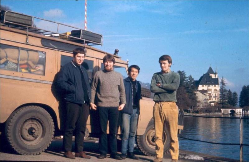 David Shaw, Simon Richard, Anussorn Thavisin, and George Emsden in Lucerne, Switzerland during their overland trip in 1970. Photo: David Shaw