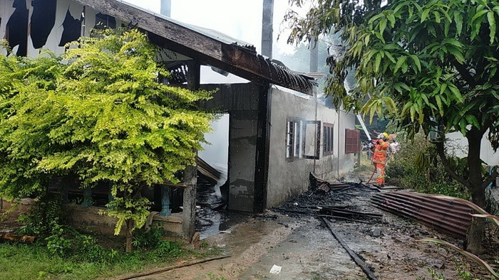 Thai man sets his own house fire Kalasin his sister refuses give money