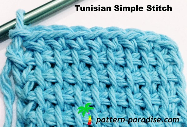 Tunisian Simple Stitch Tutorial by Pattern-Paradise.com