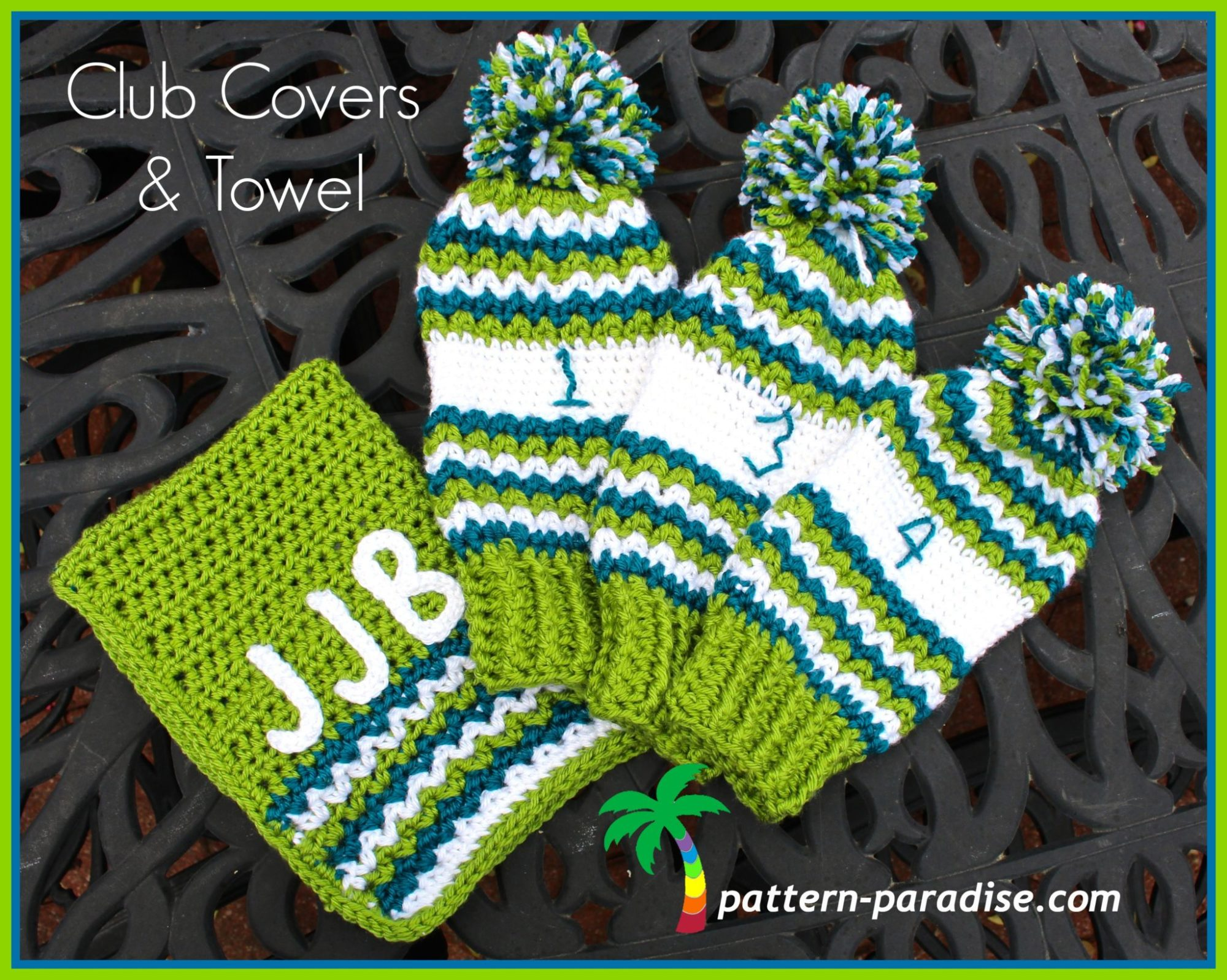 FREE Crochet Pattern - Golf Club Covers and Towel | Pattern Paradise