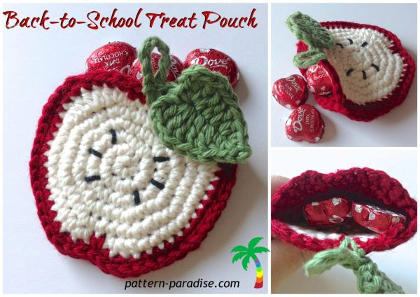 Free Crochet Pattern Apple Coasters or Goodie Pocket