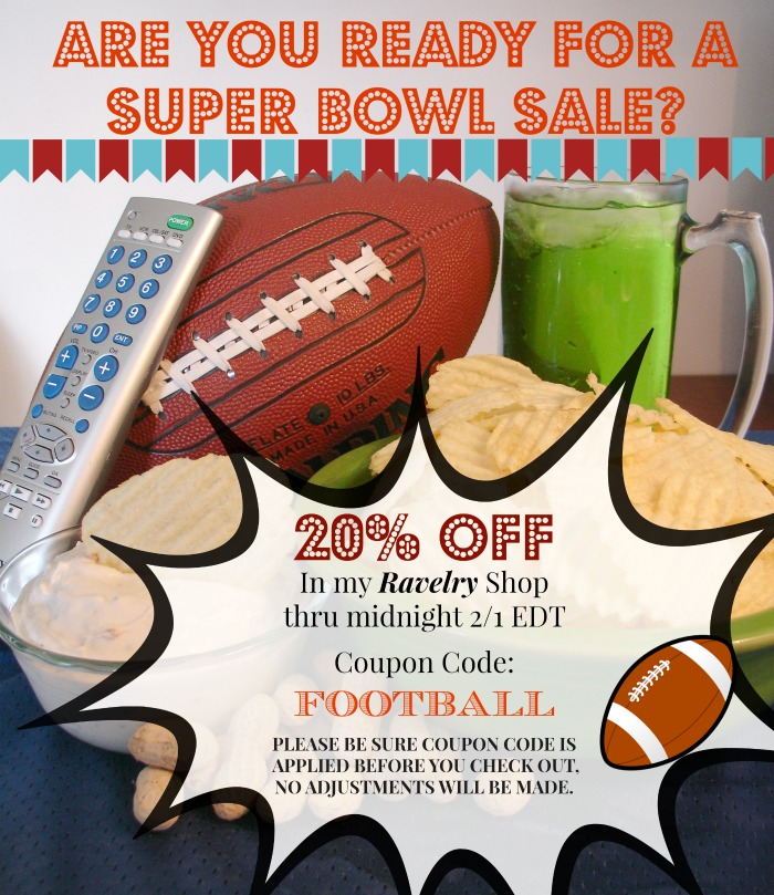 Superbowl Crochet Pattern Sale at Pattern-Paradise.com #crochet #sale #superbowl