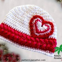 Heart Cherise Hat by Pattern Paradise