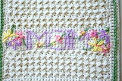 Crochet Pattern MOMogram Dishtowel by Pattern-Paradise.com