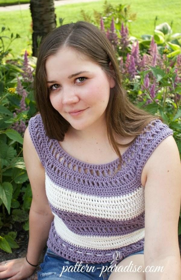 Crochet Pattern X Stitch Challenge Garden Tank by Pattern-Paradise.com