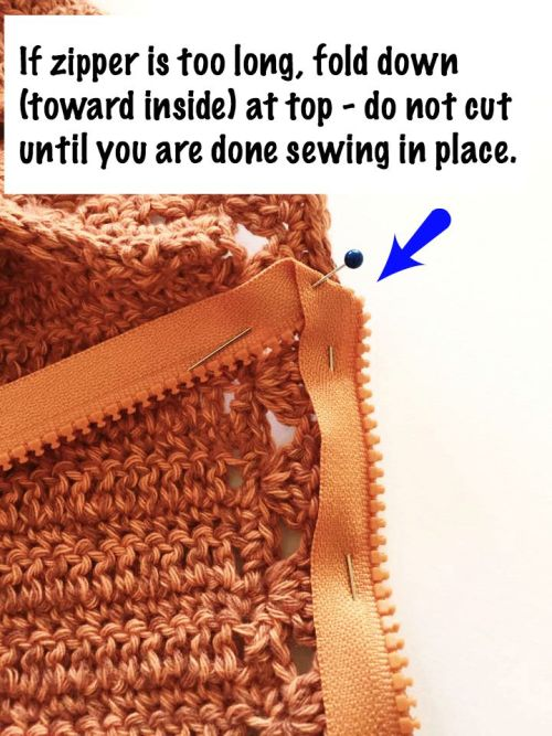 #5 Installing a Zipper in a Crocheted Garment by Pattern-Paradise.com
