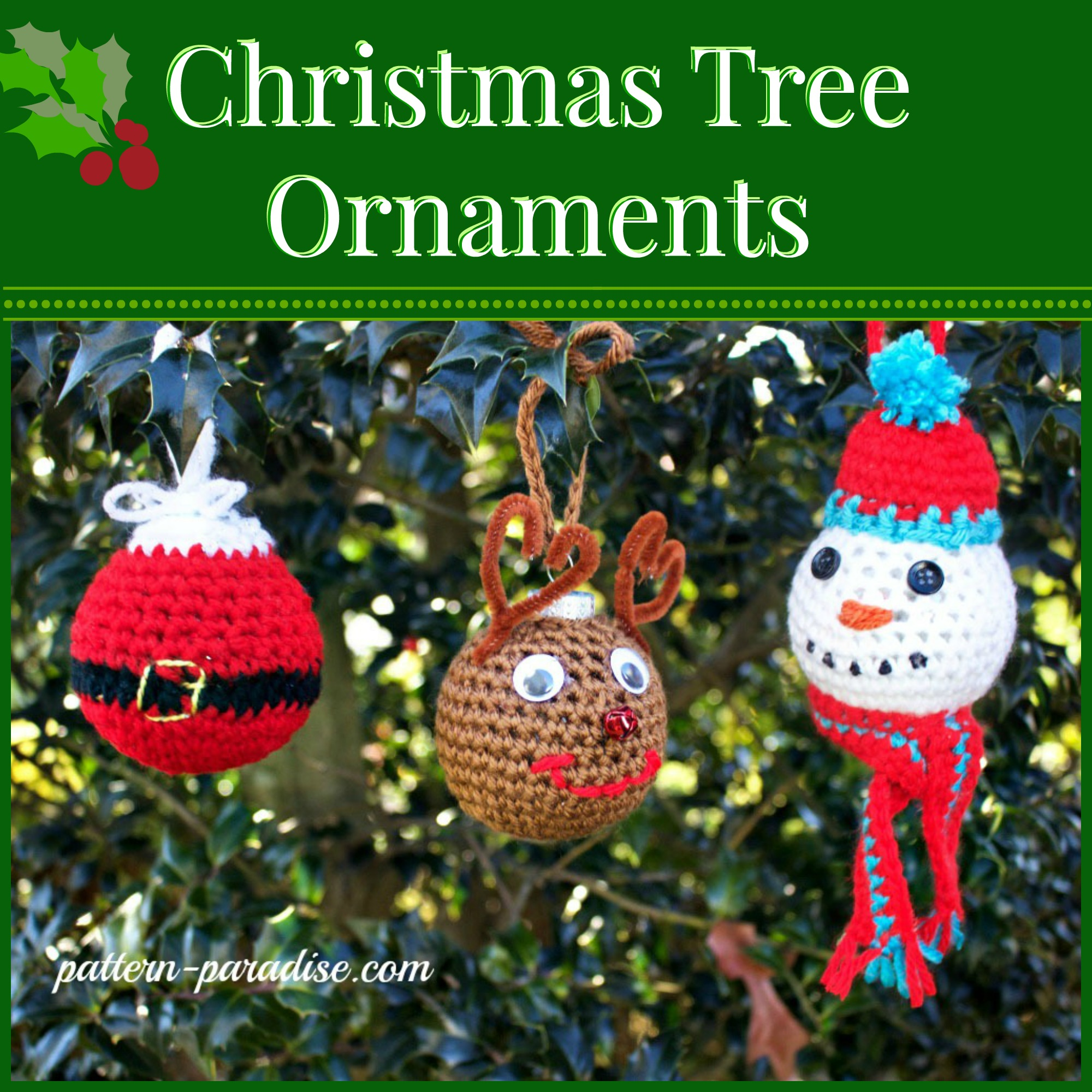 Free Crochet Pattern: Christmas Tree Ornaments Pattern Paradise
