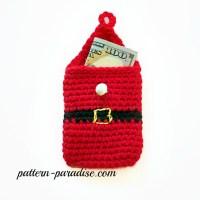 Crochet Pattern Money & Gift Card Holder by Pattern-Paradise Santa