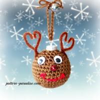 Reindeer Crochet Christmas Tree Ornaments by Pattern-Paradise.com