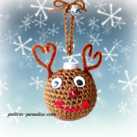 Reindeer Crochet Christmas Tree Ornaments by Pattern-Paradise.com