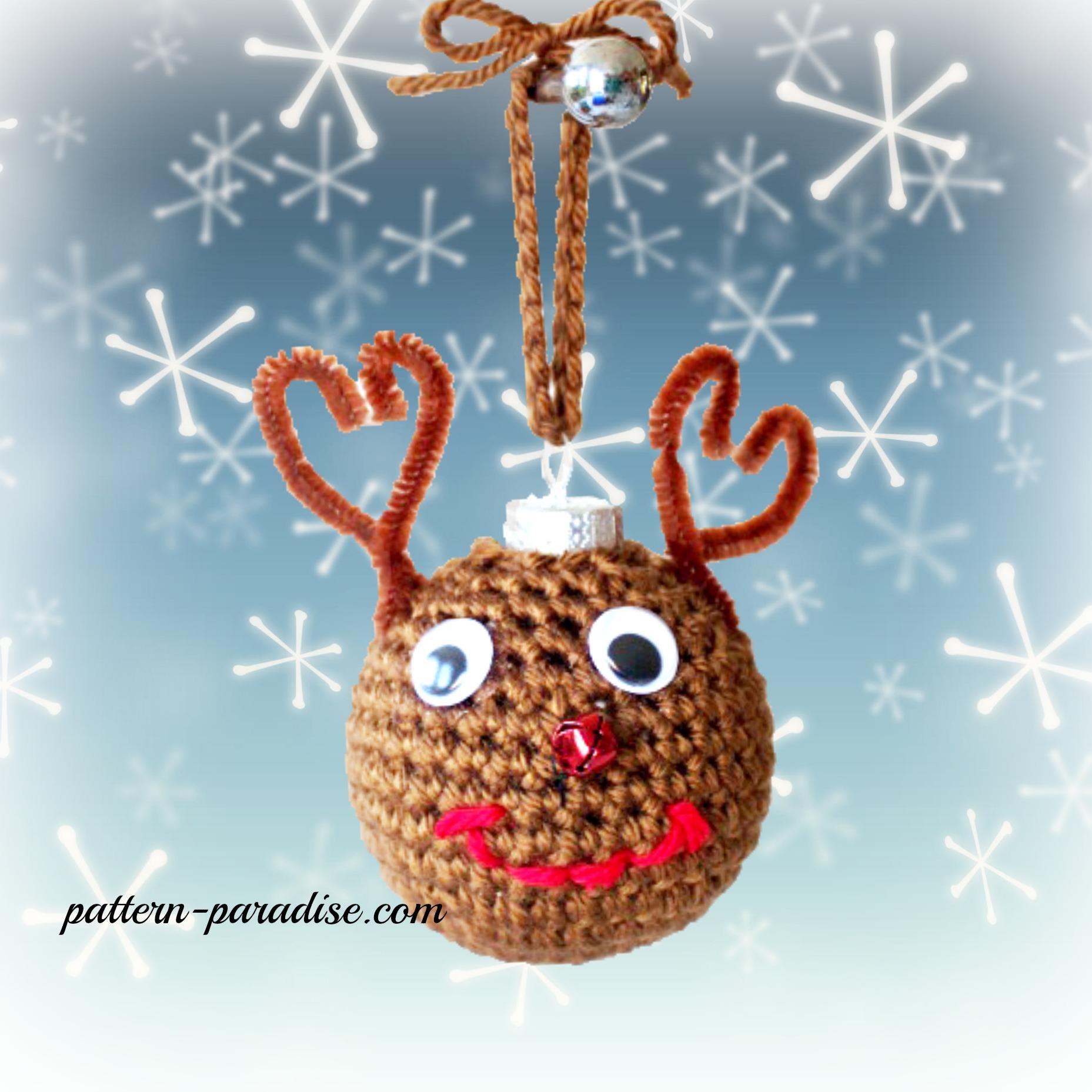 Free crochet pattern christmas tree ornaments pattern paradise reindeer crochet christmas tree ornaments by pattern paradise bankloansurffo Choice Image