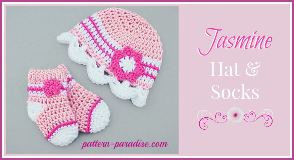 Crochet Pattern Jasmine Hat and Socks by Pattern-Paradise.com