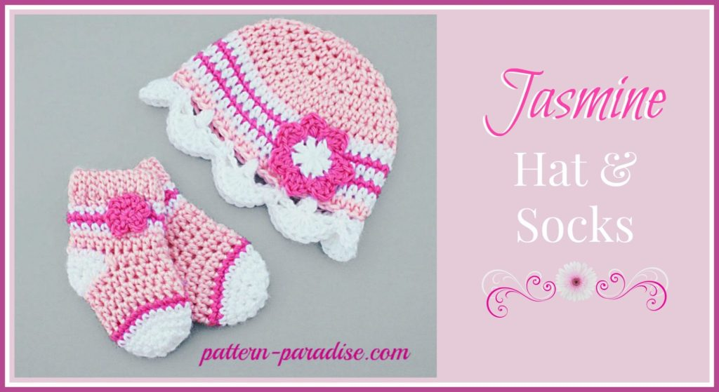 Crochet Pattern Jasmine Hat and Socks by Pattern-Paradise.com