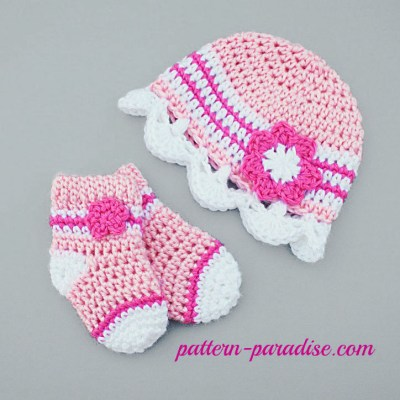 Crochet Pattern Jasmine Hat and Sock Set by Pattern-Paradise.com