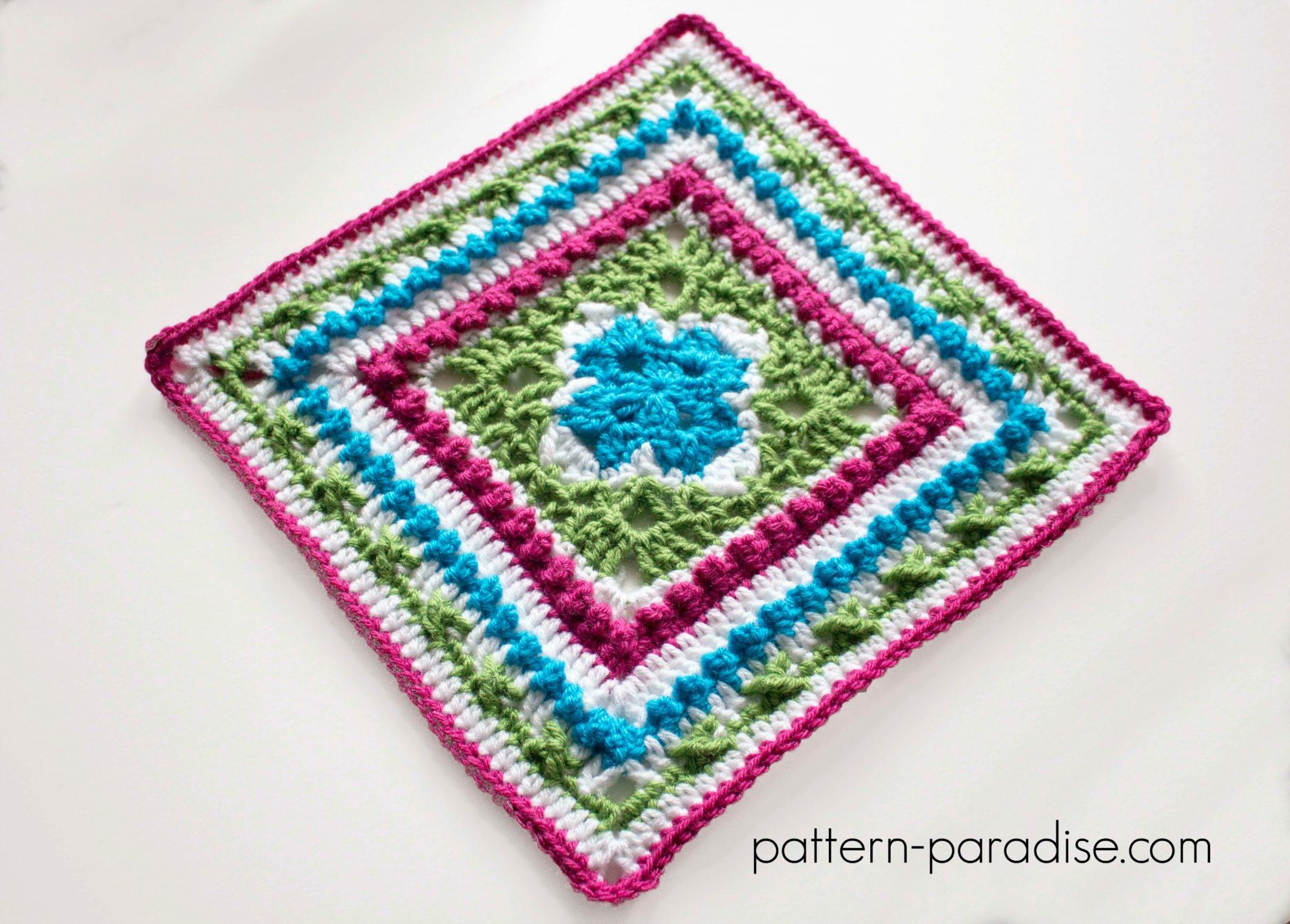 Free Crochet Pattern English Garden Square by Pattern-Paradise.com