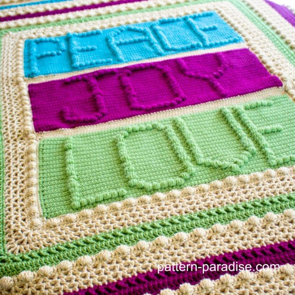Free Crochet Pattern: Peace, Joy and Love Throw