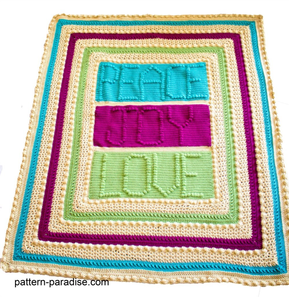 Free Crochet Pattern Peace, Joy and Love Throw by pattern-paradise.com