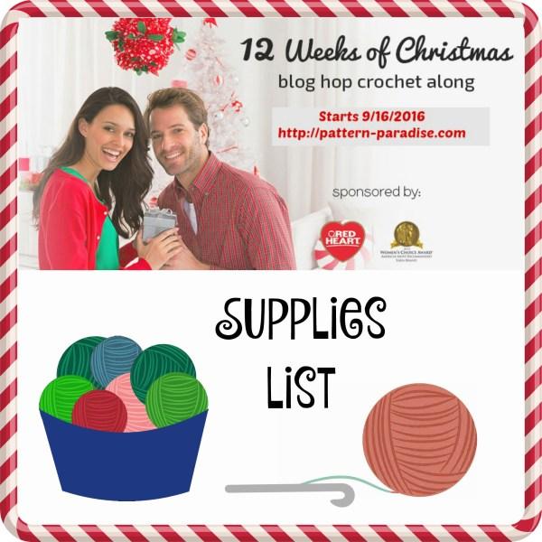 #12WeeksChristmasCAL – Supplies List