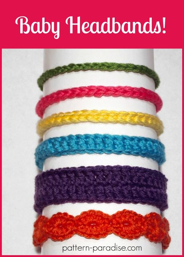 Free Pattern Crochet Baby Headbands by Pattern-Paradise.com