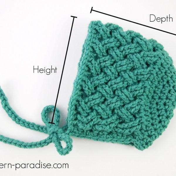 Crochet Bonnet Sizing Chart