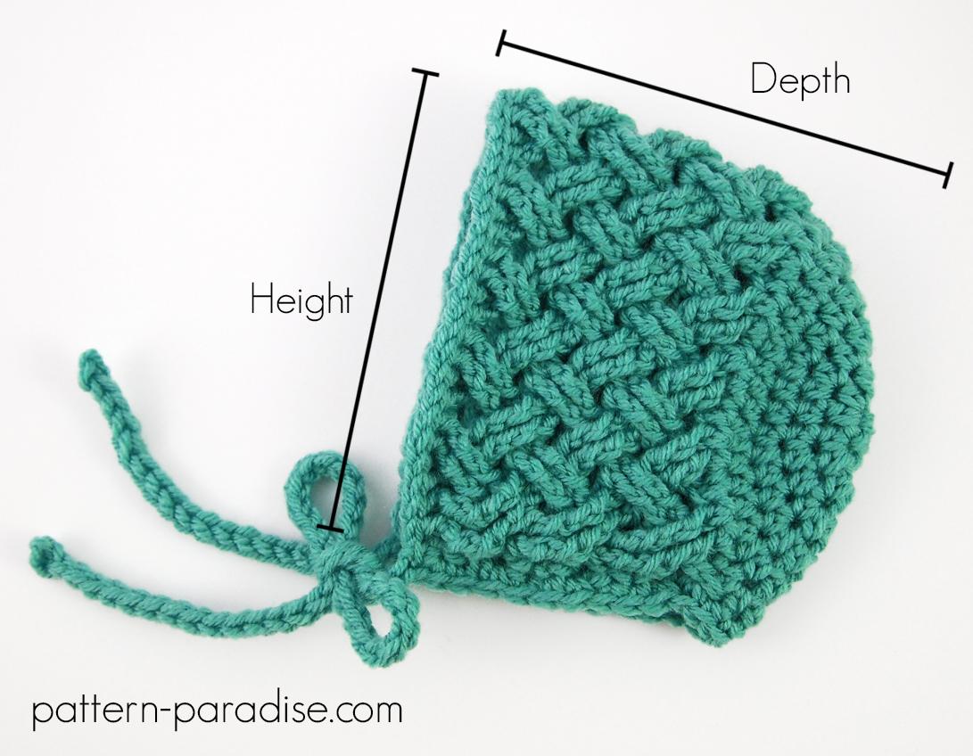Crochet Bonnet Sizing Chart | Pattern Paradise