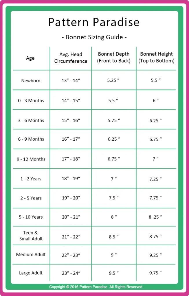 Pattern Paradise Bonnet Sizing Guide Chart