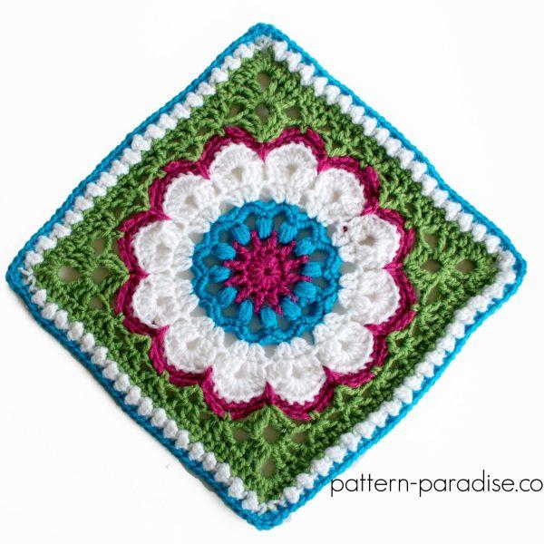 Free Crochet Pattern: Dahlia Afghan Square