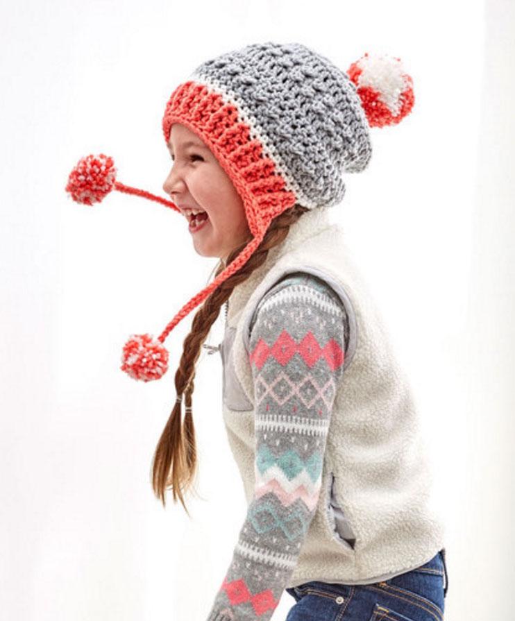 Free Crochet Pattern: Little Miss Pompom Hat by Pattern-Paradise.com