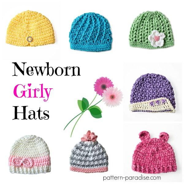 Crochet Pattern: Newborn Girly Hats