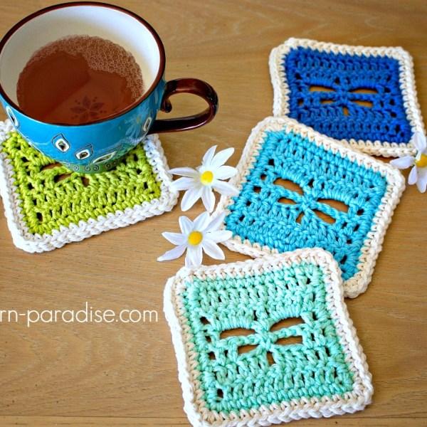 Free Crochet Pattern: Dragonfly Coasters
