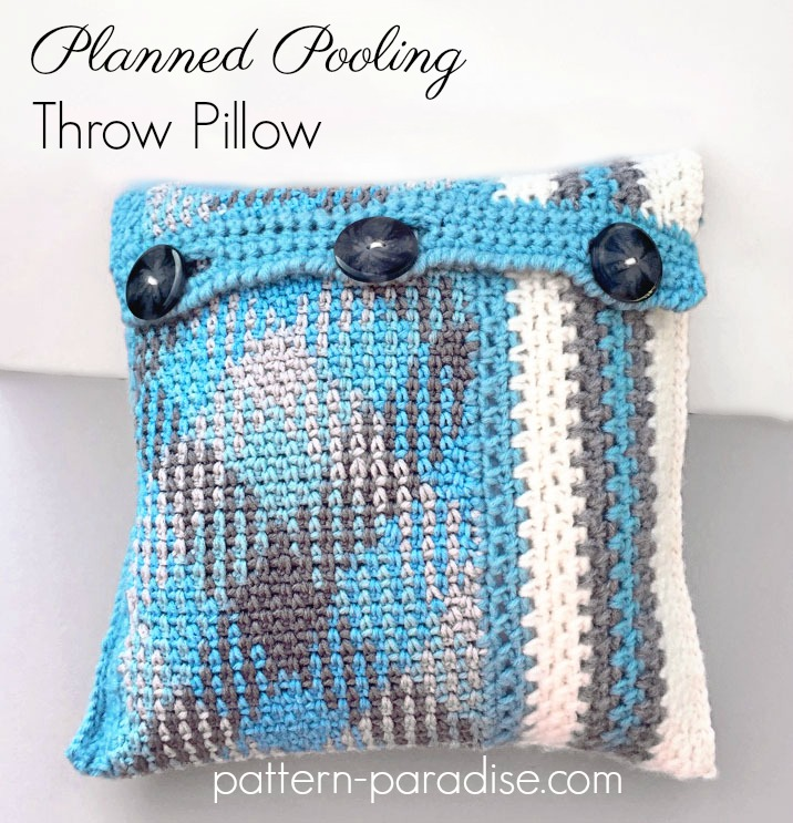 Free Crochet Pattern Planned Pooling Throw Pillow