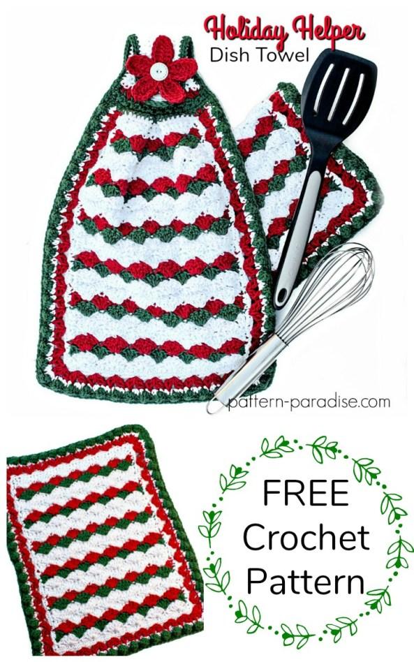 Free Crochet Pattern Holiday Helper Dish Towel Pattern Paradise