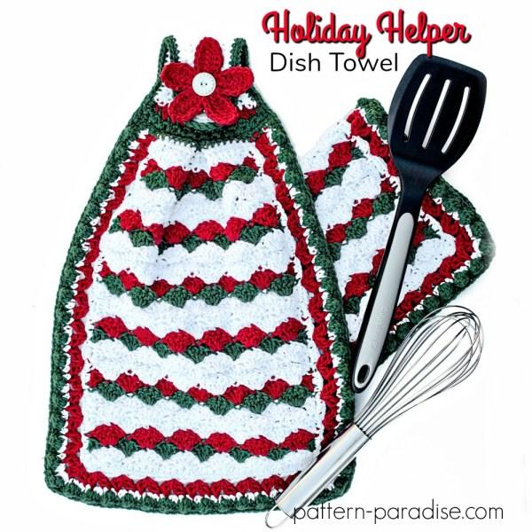 Free Crochet Pattern: Holiday Helper Dish Towel