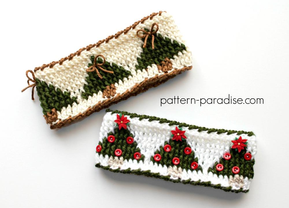 Free Crochet Pattern Christmas Tree Graph Headband Pattern Paradise
