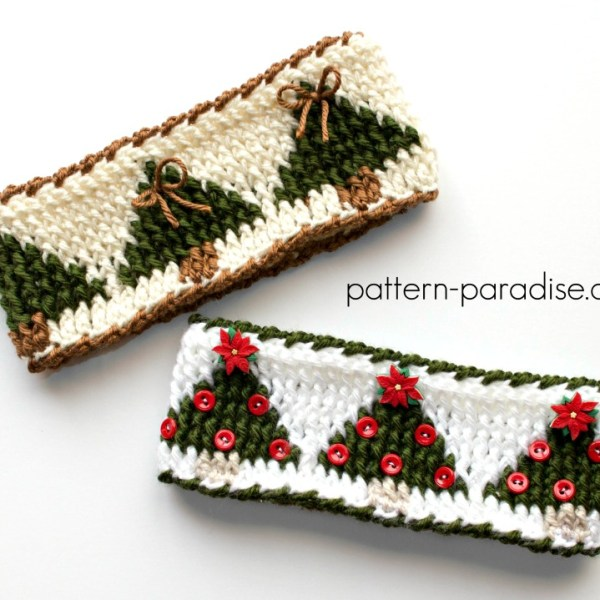 Free Crochet Pattern: Christmas Tree Graph Headband