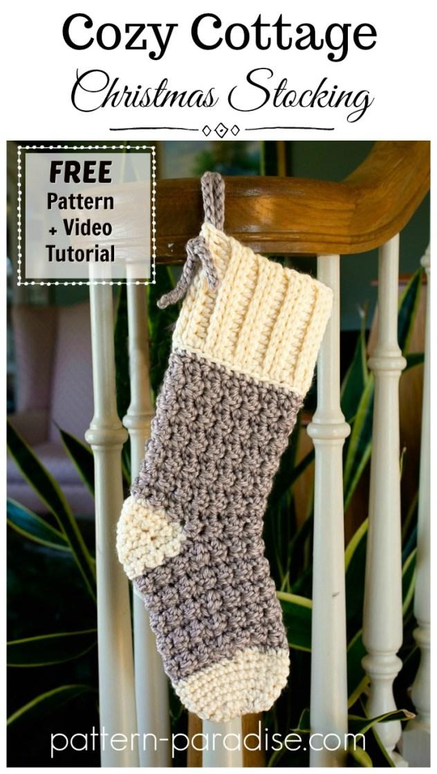 Free Crochet Pattern Cozy Cottage Christmas Stocking Pattern Paradise