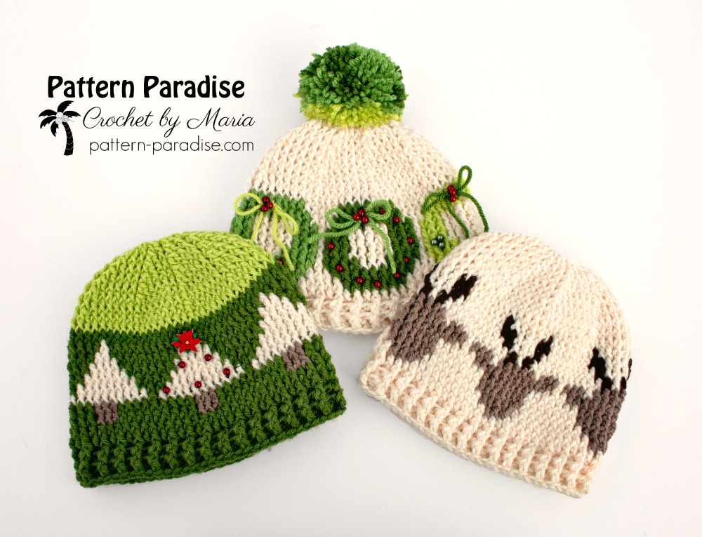 Free Crochet Pattern Graphic Christmas Hats Pattern Paradise