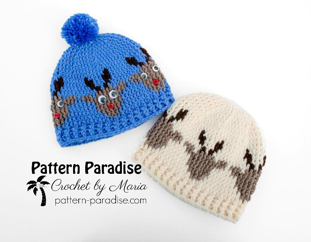 Free Crochet Pattern Reindeer Hat Pattern Paradise