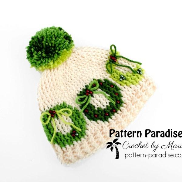 Free Crochet Pattern: Christmas Wreath Hat