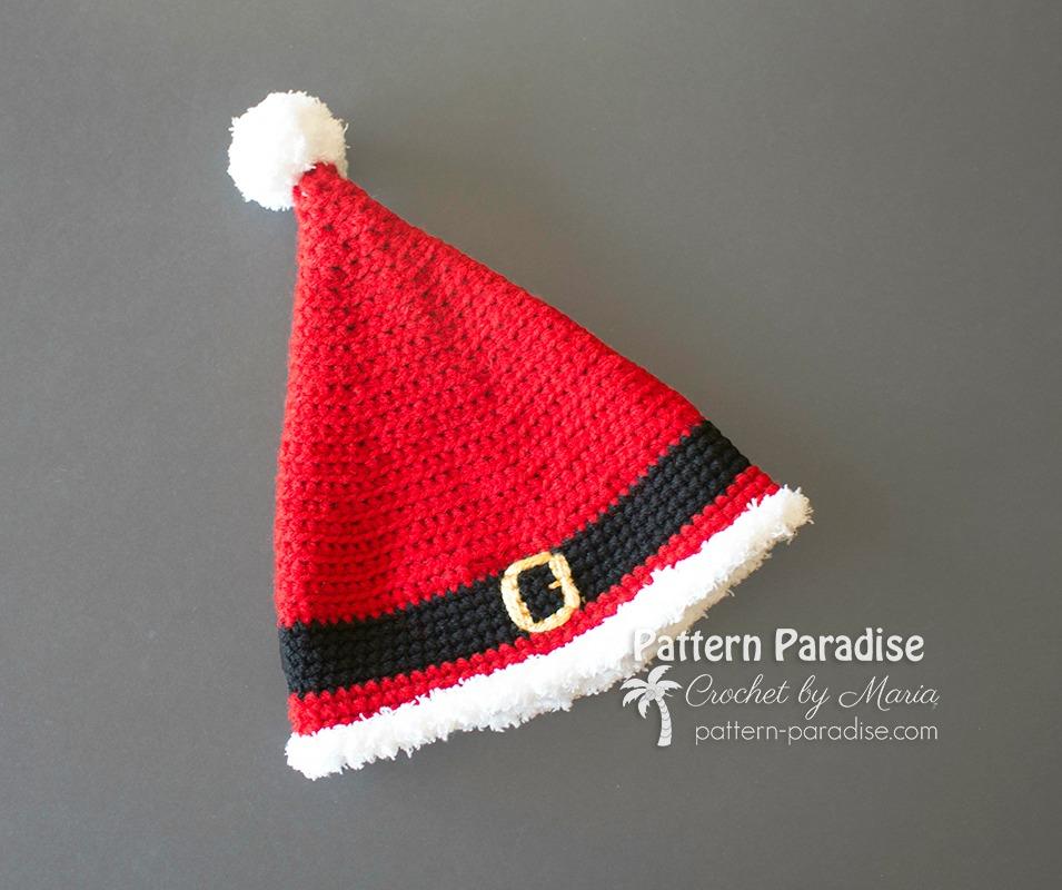 Crochet Christmas Hats Adults.Free Crochet Pattern Santa Hat Pattern Paradise