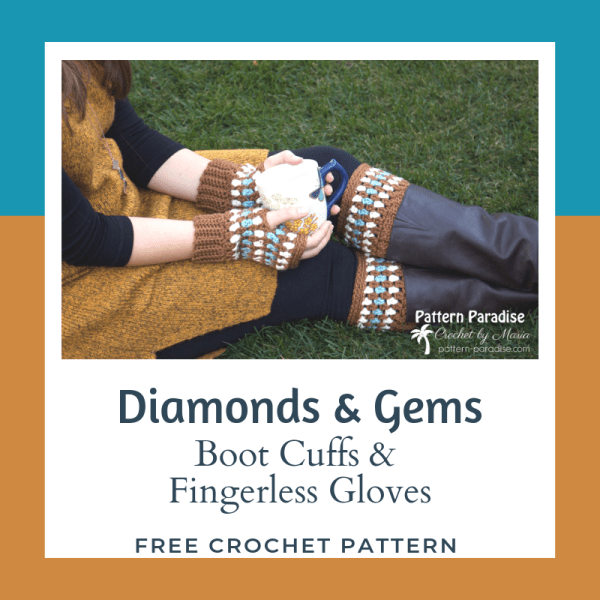 Free Crochet Pattern: Diamonds & Gems Fingerless Gloves and Boot Cuffs