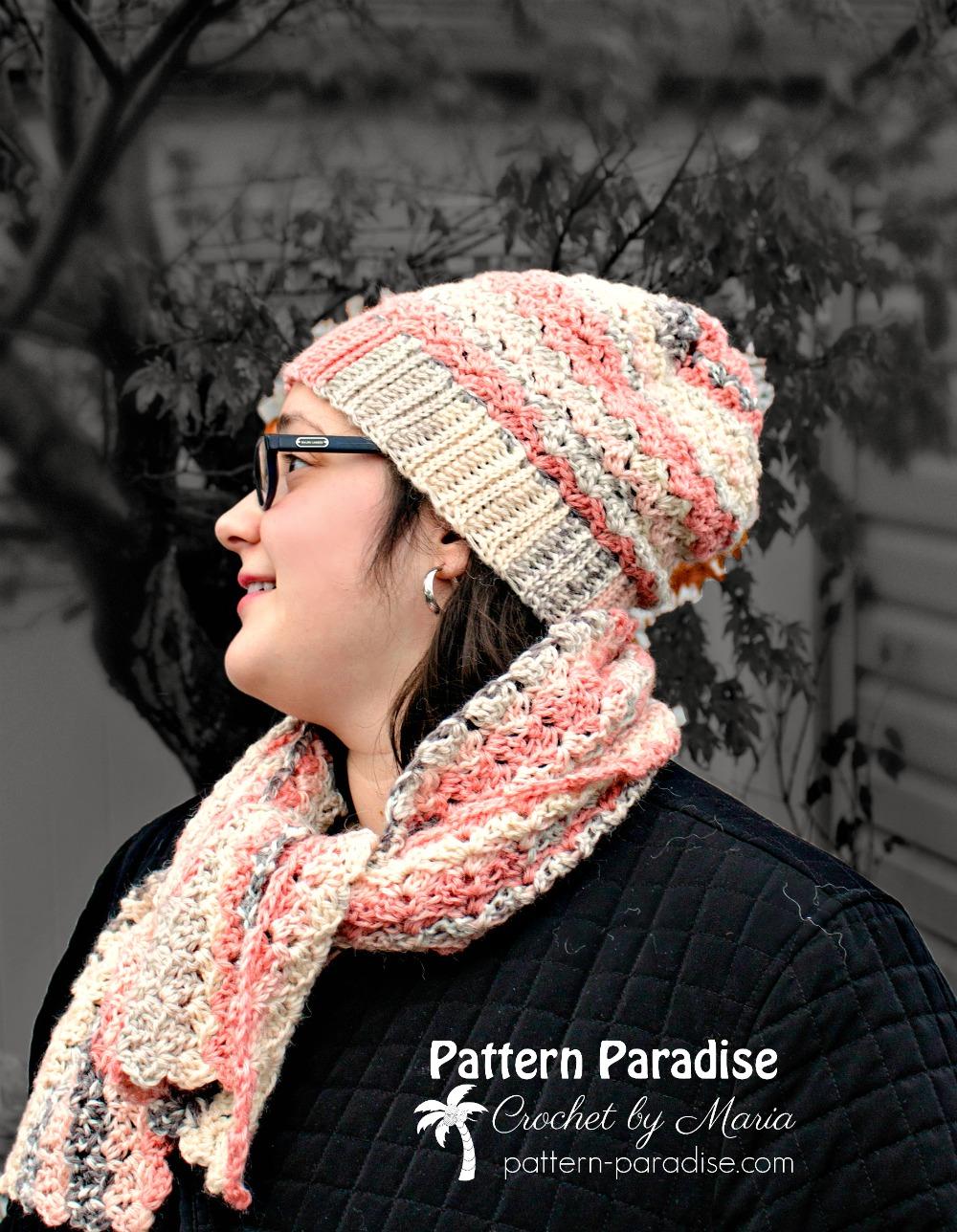 Free Crochet Pattern: Sunset Blush Hat and Scarf Set   Pattern Paradise