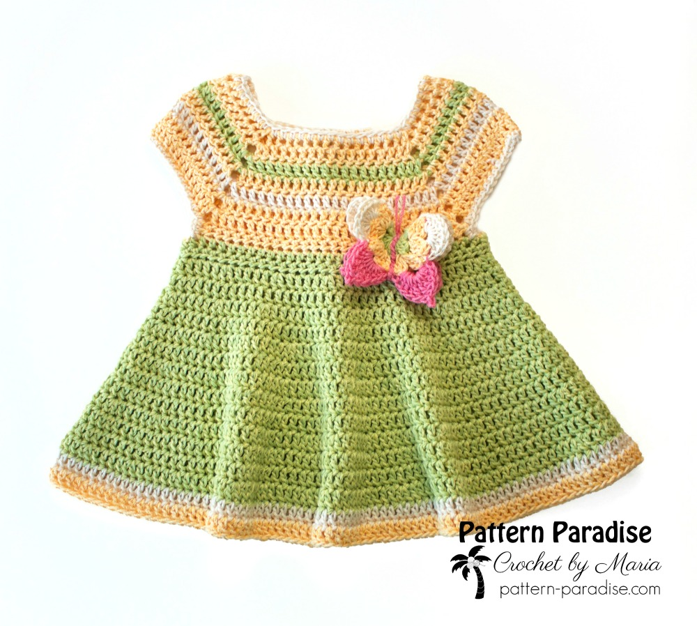 Free Crochet Pattern Butterfly Kisses Dress Pattern Paradise