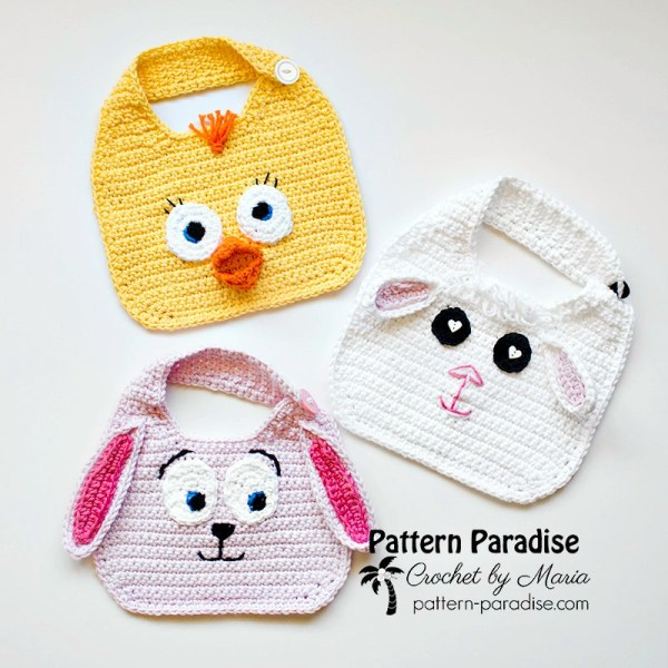 Free Crochet Pattern: Animal Friends Bibs
