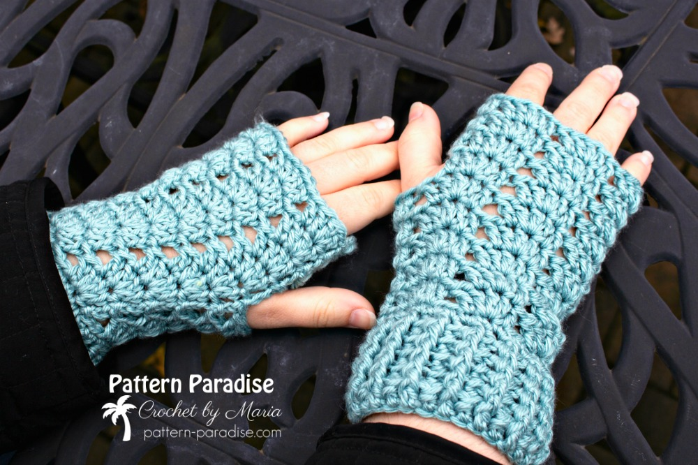 Free Crochet Pattern Charmed Fingerless Gloves Pattern Paradise