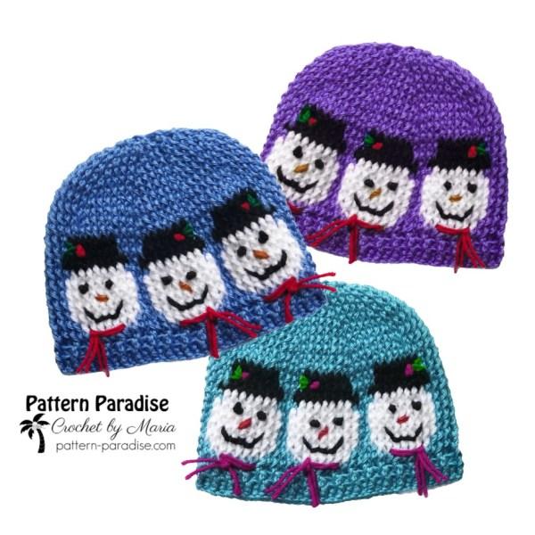 Free Crochet Pattern: Snowmen Hat