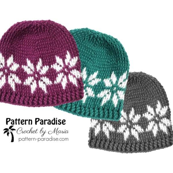 Free Crochet Pattern: Snowflake Hat