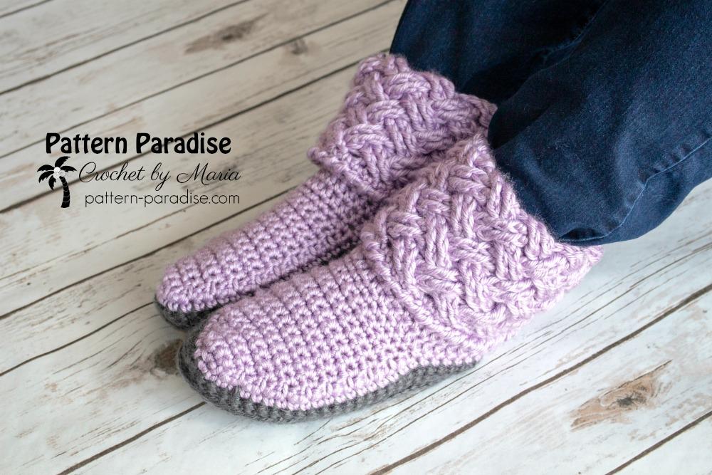Free Crochet Pattern Celtic Weave Slippers